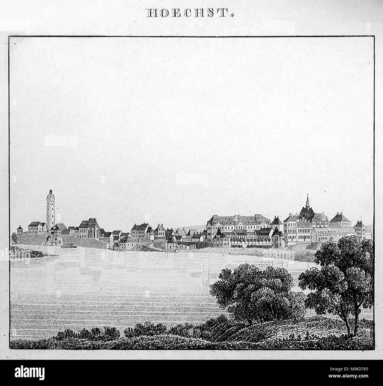 . Ansicht von Höchst 1829 . 1829. Stahlstich von C. A. Helmsauer nach einer Zeichnung von Friedrich Wilhelm Delkeskamp 281 Hoechst 1829 - Stock Image