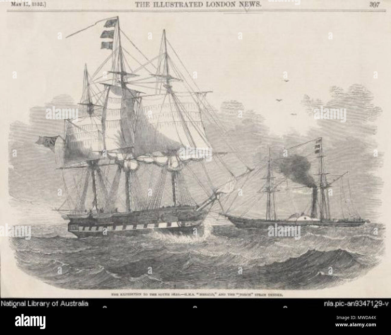 . English: HMS Herald expedition to the southwest Pacific (with steamship Torch) . 15 June 2011. Granitethighs 280 HMS Herald - Stock Image