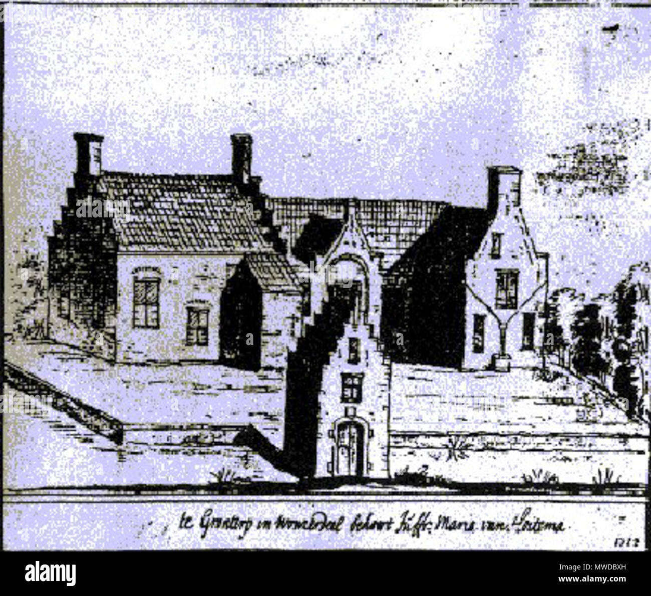 . Frysk: In print fan de Hoytema State út 1722, tekene troch Stellingwerf De tekening is yn it Printekabinet fan it Frysk Museum. Nederlands: Een prent van de Hoytema State uit 1722, getekend door Stellingwerf. De tekening bevindt zich in het Prentenkabinet in het Fries Museum te Leeuwarden. 26 December 2006 (original upload date). The original uploader was Horus at Dutch Wikipedia 285 Hoytema State - Stock Image