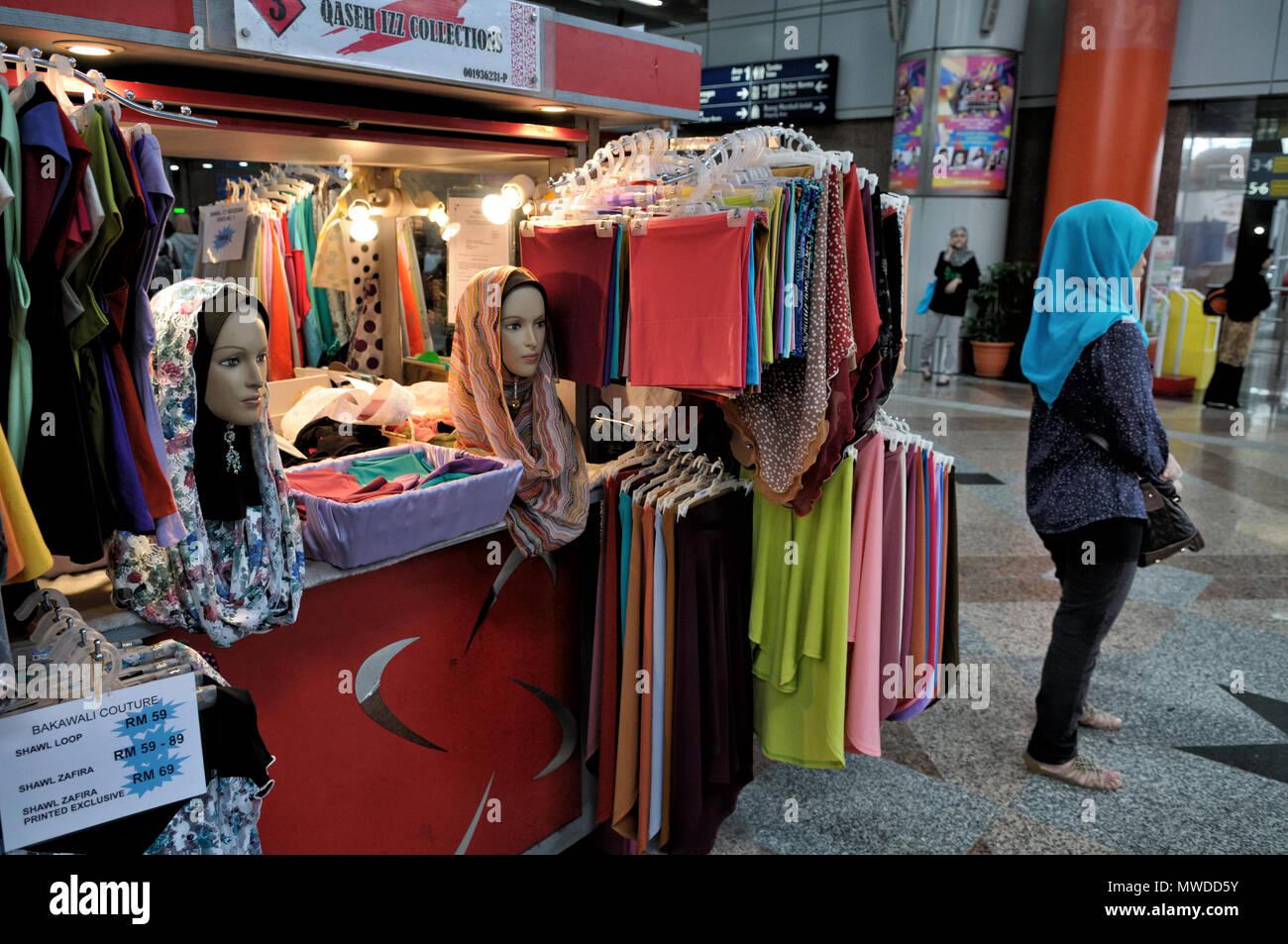 Small shop of hijabs (Islamic veils) in Kuala Lumpur, Malaysia - Stock Image
