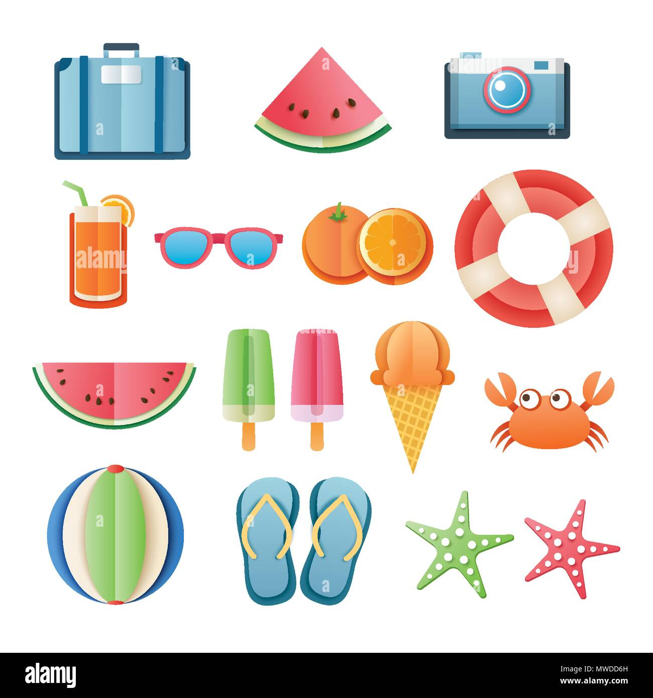 Summer sticker icon set paper art design. Can be used for banner ...
