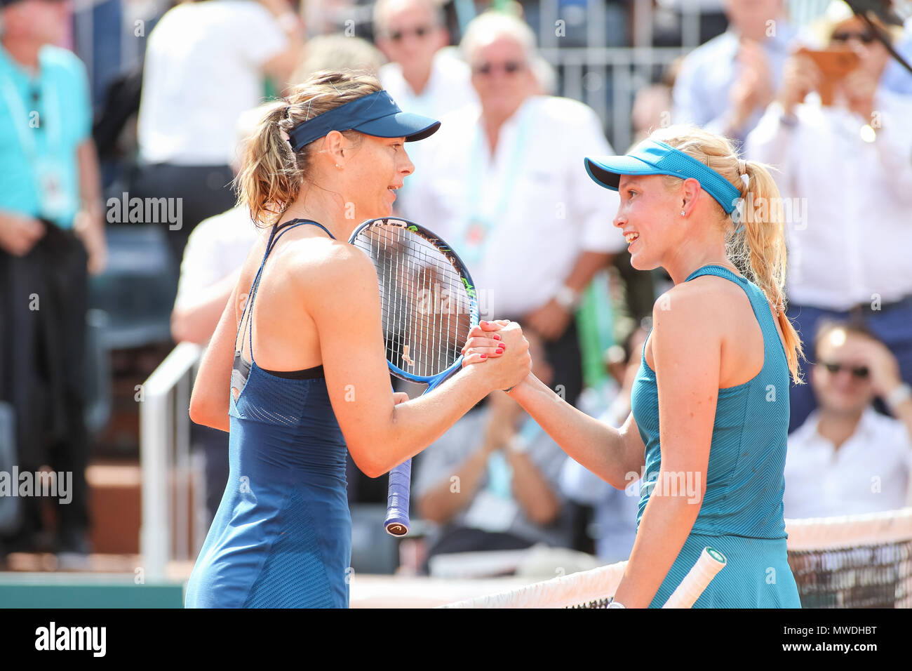 Paris france 31st may 2018 l r maria sharapova rus donna l r maria sharapova rus donna vekic cro tennis l r maria sharapova of russia and donna vekic of croatia greet each other after the womens m4hsunfo