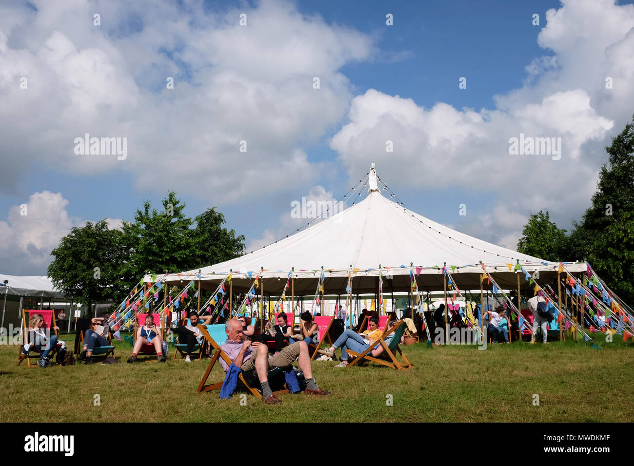 Hay Festival, Hay on Wye, UK - Friday 1st June 2018 -  The sun shines onto the Hay Festival lawns this morning on the first day of the meteorological summer - Photo Steven May / Alamy Live News - Stock Image