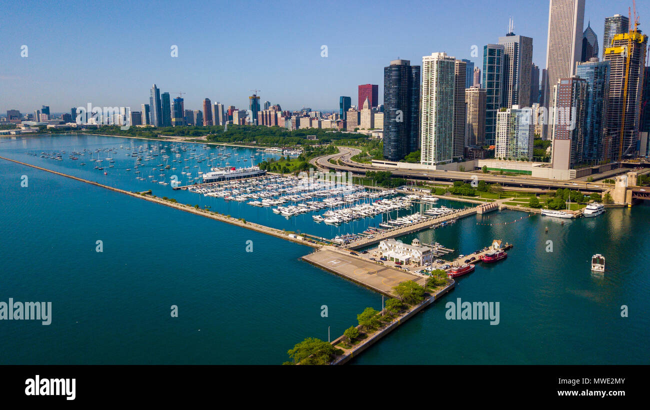 DuSable Harbor, Chicago, IL, USA - Stock Image