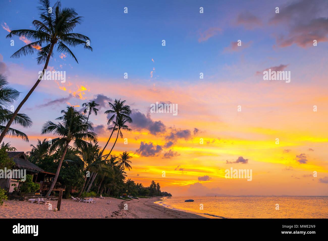 Perfect sunset on  Bang Po beach . Samui Island. Thailand. - Stock Image