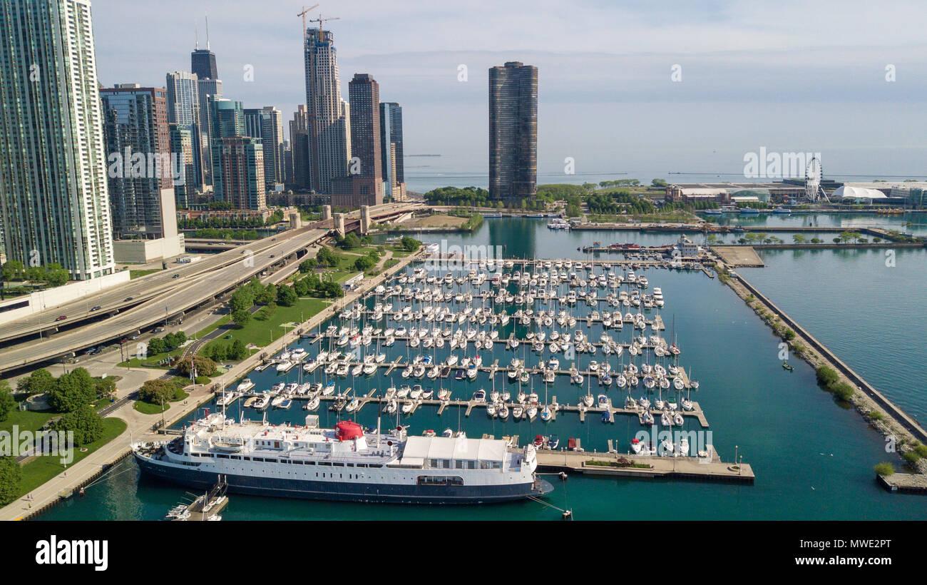 Columbia Yaht Club, DuSable Harbor, Chicago, IL, USA - Stock Image