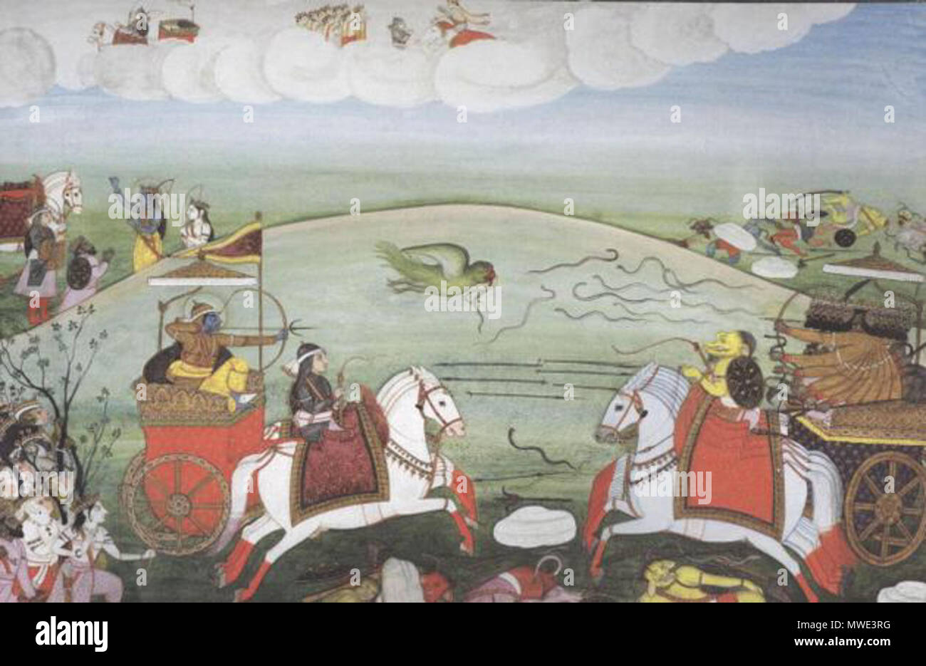 . English: What people don't recognise is that the story of Ram, what we call the Ram Katha, extends over a huge historical period.' Photo: Valmiki Ramayana, illustrated with Indian miniatures from the 16th to the 19th century, edited and published by Diana De Selliers . from the 16th to the 19th century. Unknown 208 Fight between Rama and Ravana Stock Photo
