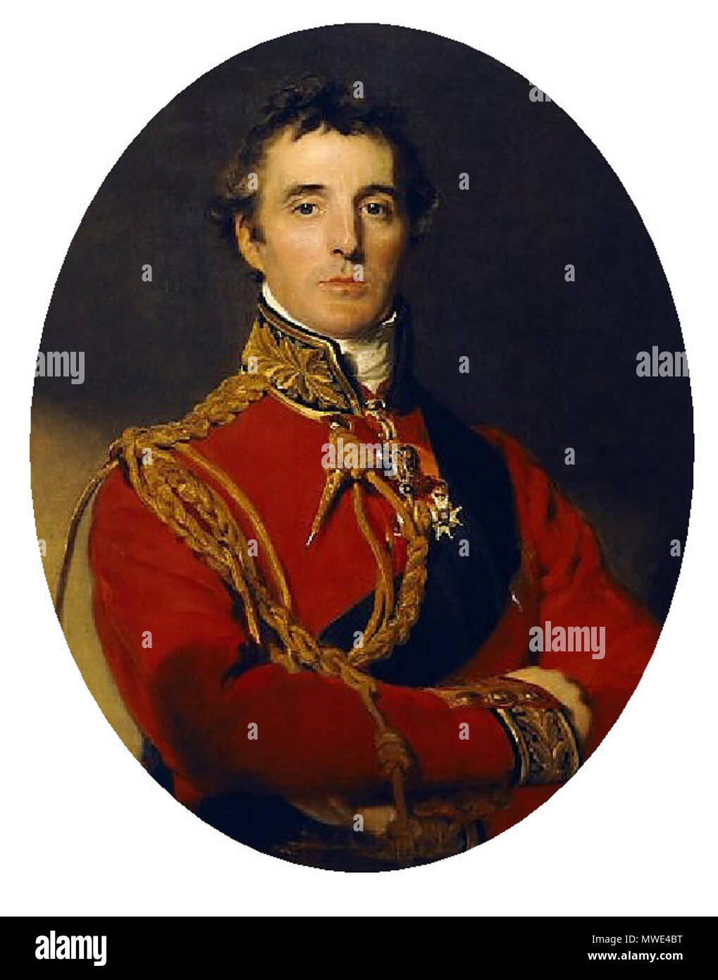 . English: Portrait . 31 January 2012. Lawrence 1815 209 First Duke of Wellington detail of a portrait - Stock Image