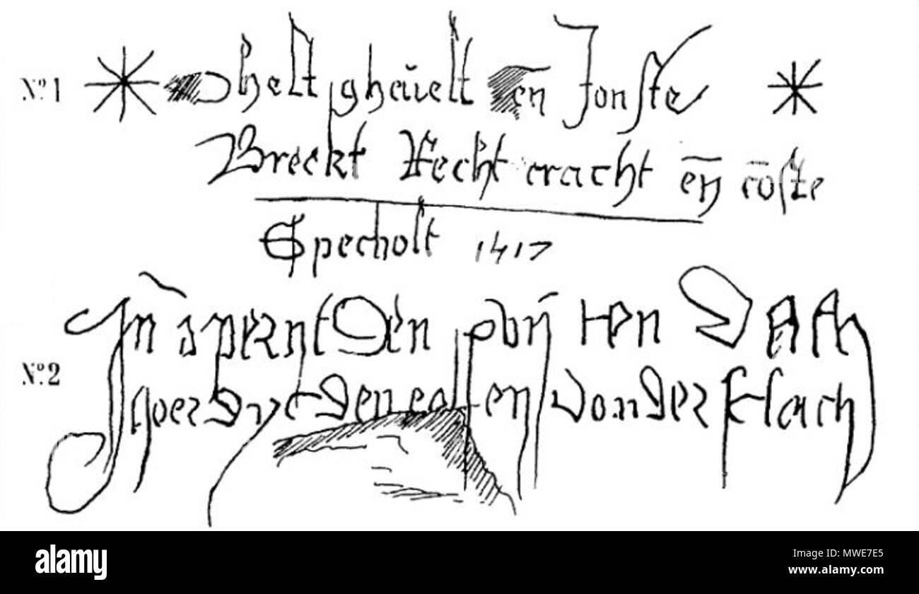 . Français: Histoire du donjon de Loches, par Edmond Gautier Planche 9, inscription du pont-levis . 22 July 2013, 20:55:13. Edmond Gautier 280 Histoire-donjon-loches-planche9 - Stock Image