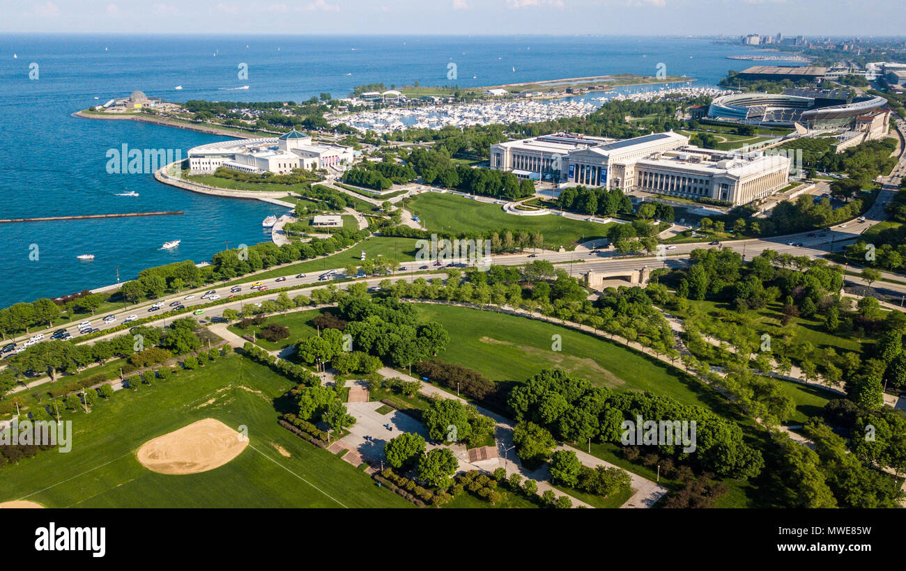 The Field Museum of Natural History, and the Shedd Aquarium, Chicago, IL, USA - Stock Image