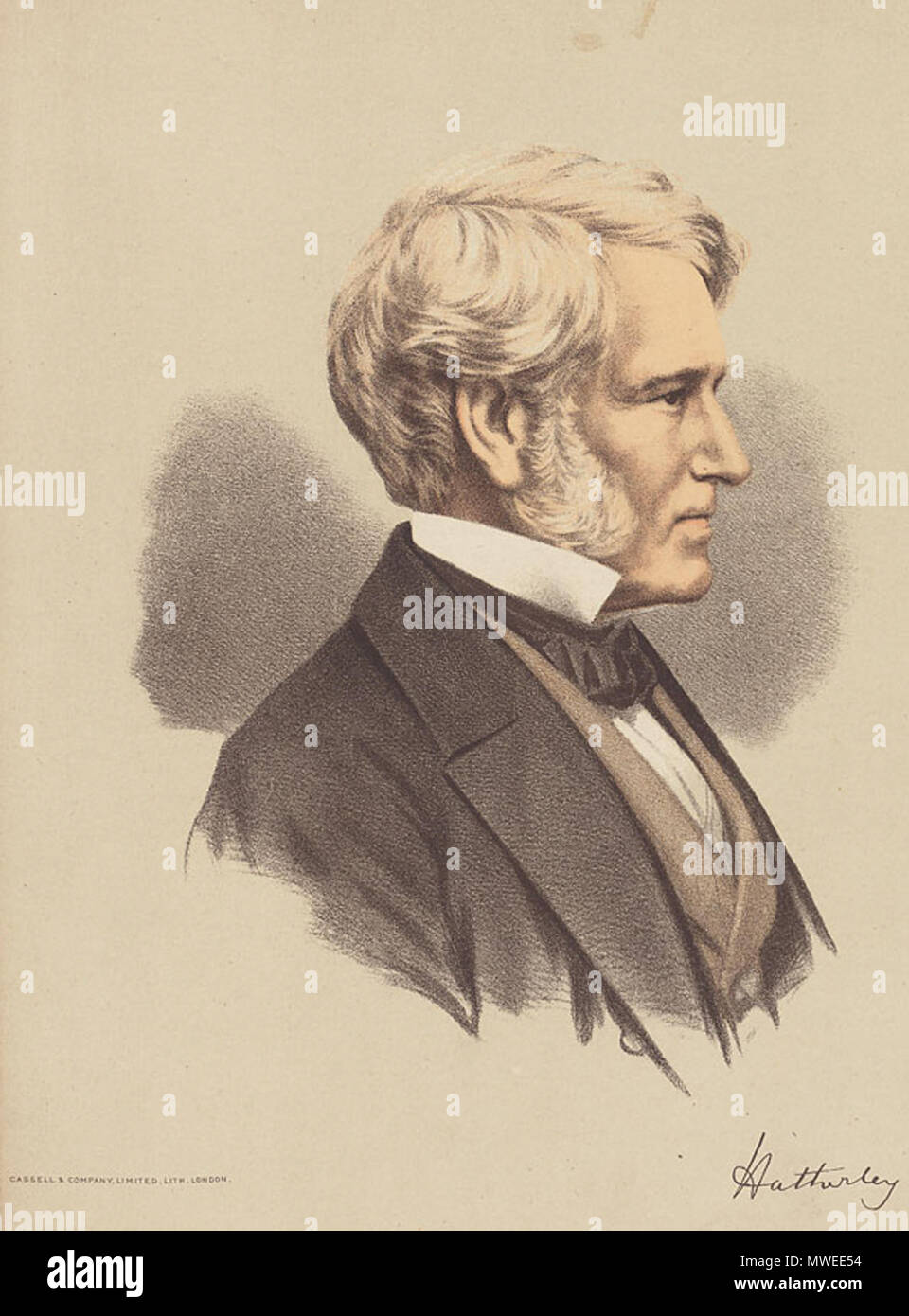 . William Wood, 1st Baron Hatherley (1801-1881) . Contemporary portrait. Cassell, Petter, Galpin, & Co. Lithographers 14 1stLordHatherley - Stock Image