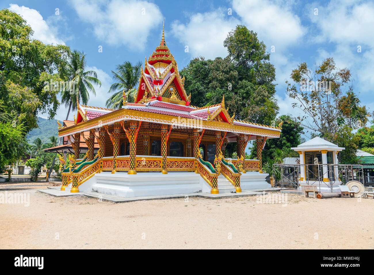 Buddhist temple on the island of Koh Samui in Thailand - Stock Image
