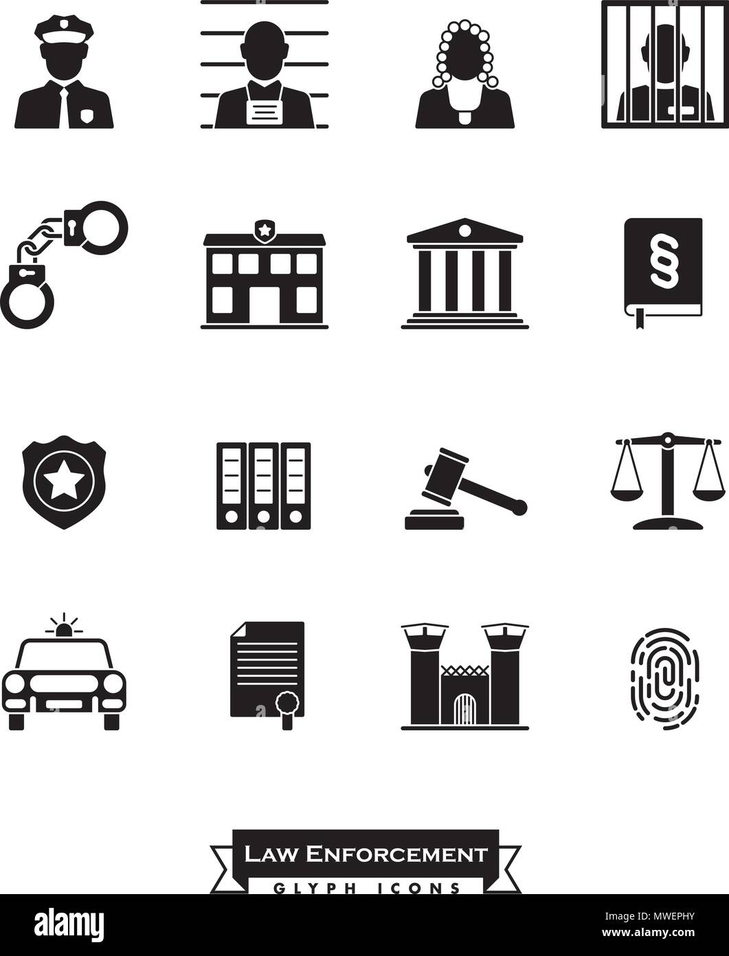 Collection Of Law Enforcement Glyph Icons Criminal Justice Symbols