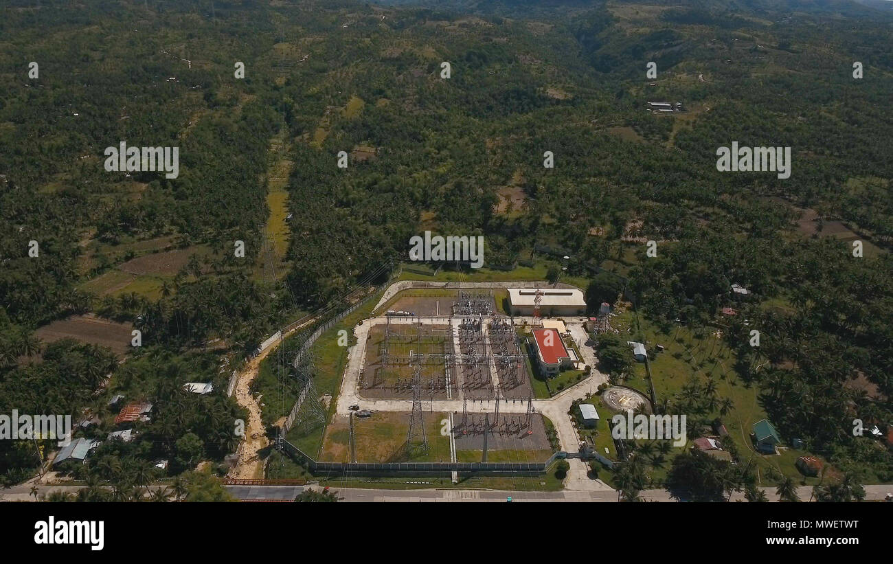 Aerial View High Voltage Power Transformer Substation In Tropical Aerialwiringpicturejpg Forest Cebu Station The Mountains Electrical