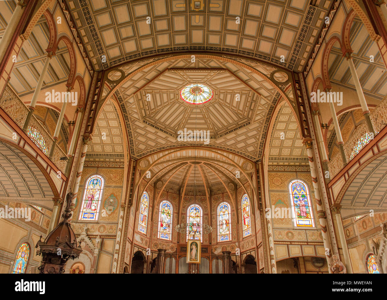 The catholic cathedral of Fort-de-France, capital of Martinique - Stock Image