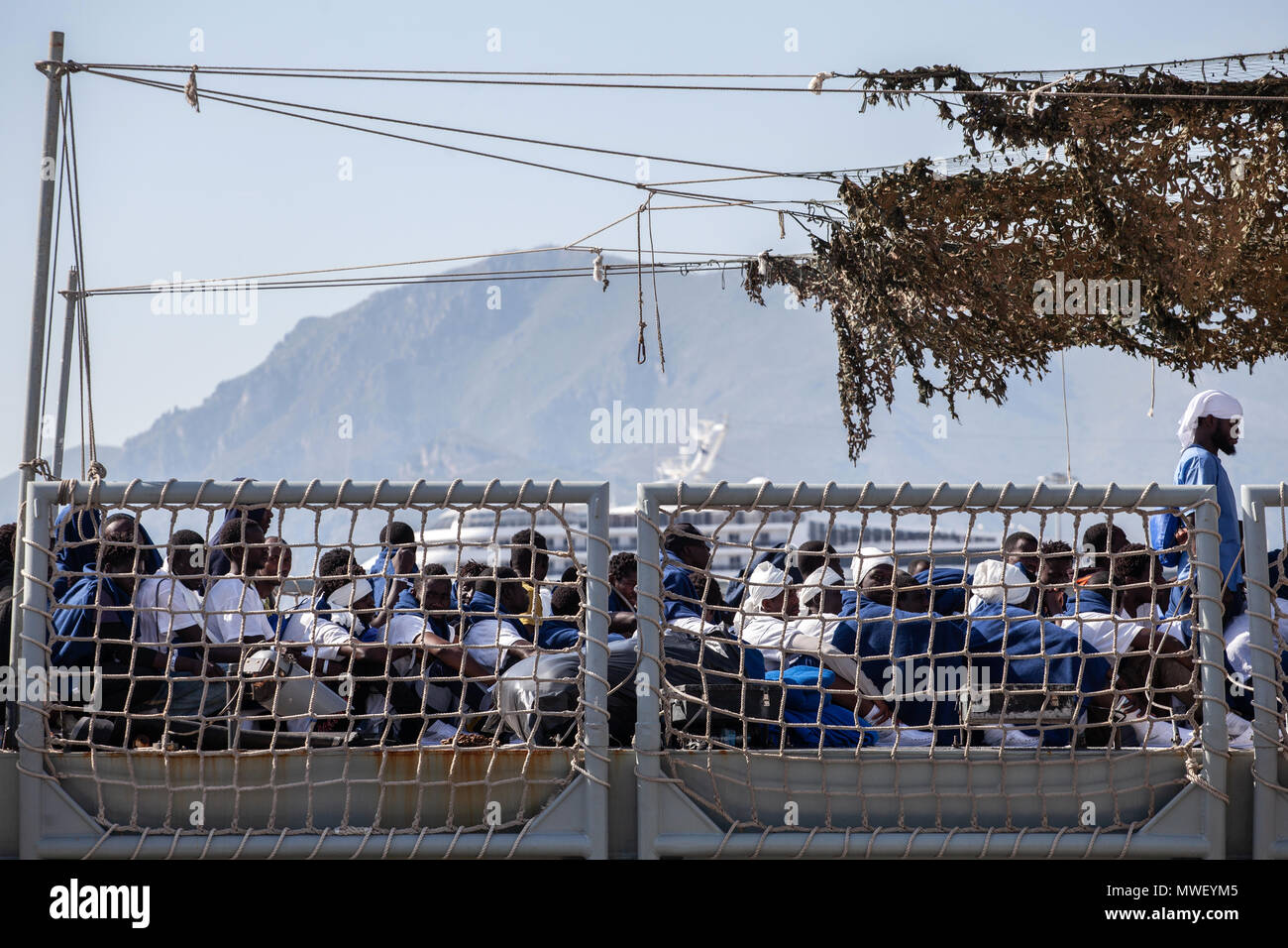 Palermo, the stages of disembarkation of 592 migrants at the port of Palermo from the Spanish ship Numancia. - Stock Image