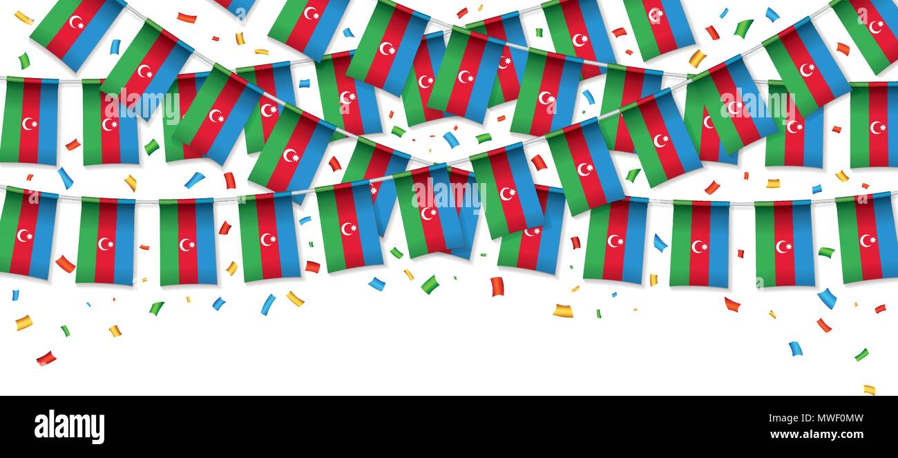 Azerbaijan flag garland white background with confetti, Hang bunting for Azerbaijani independence Day celebration template banner, Vector illustration - Stock Vector
