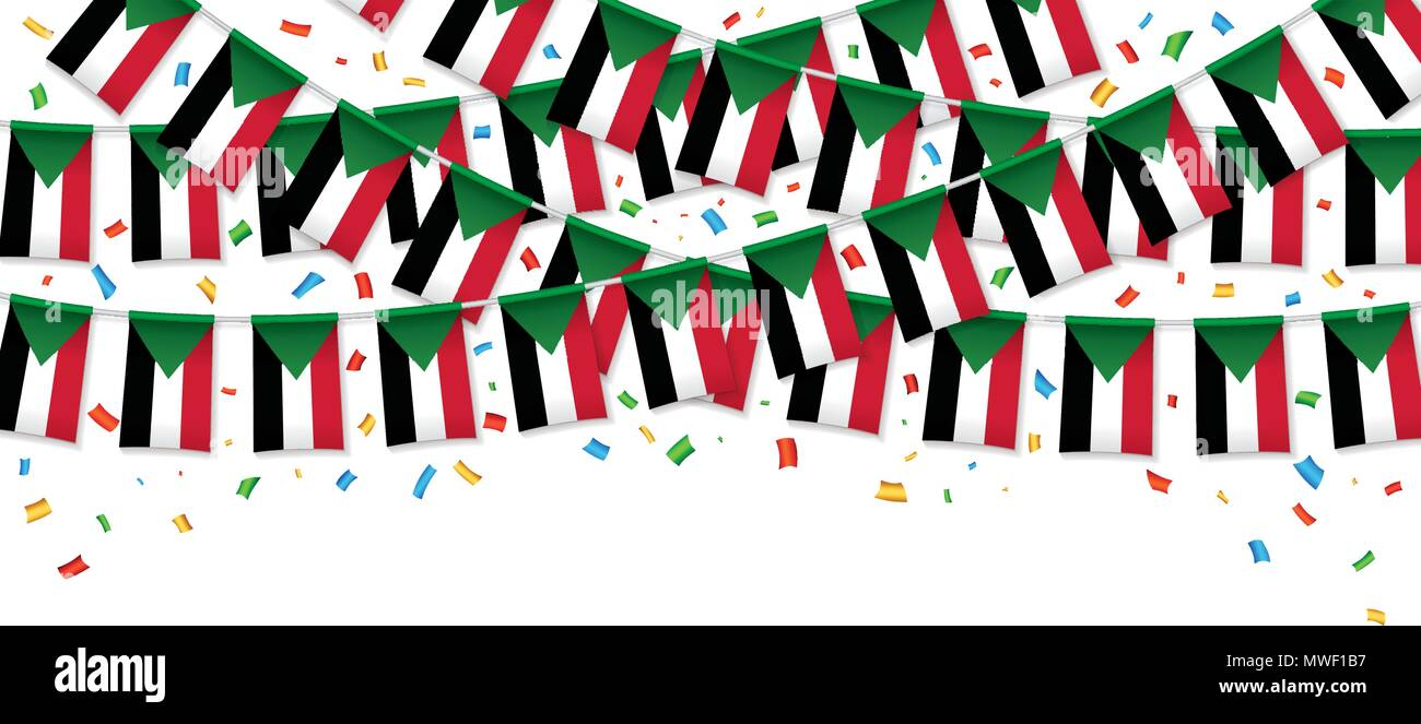 Sudan flags garland white background with confetti, Hang bunting for Sudan independence Day celebration template banner, Vector illustration - Stock Vector