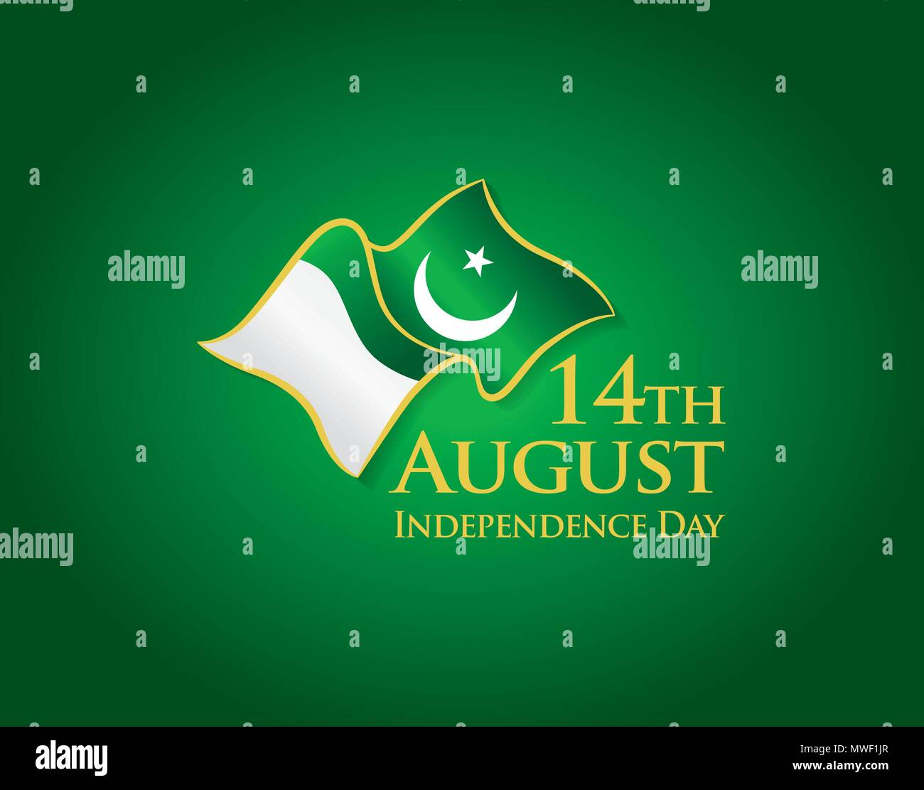 Pakistan Independence day, 14th august  Vector typographic emblems