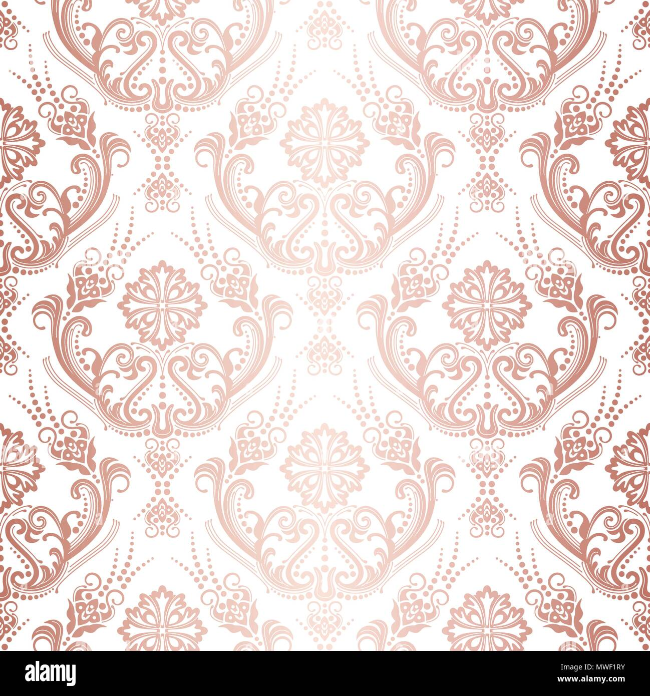 Luxury Rose Gold Floral Damask Wallpaper Isolated Pattern This