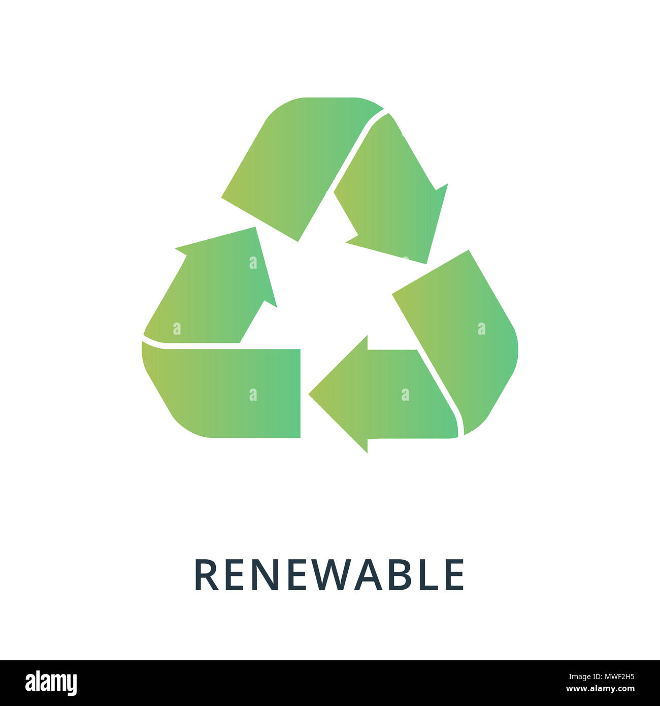 Renewable icon. Flat style icon design. UI. Illustration of renewable icon. Pictogram isolated on white. Ready to use in web design, apps, software, print. - Stock Image