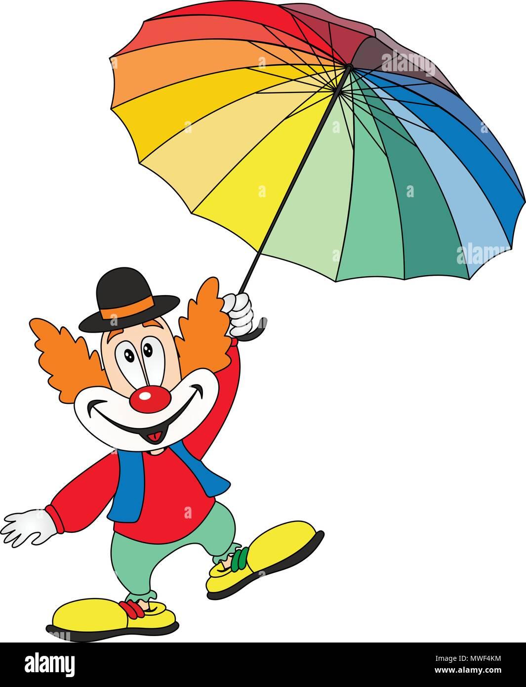 Cartoon funny clown holding an umbrella - Stock Vector