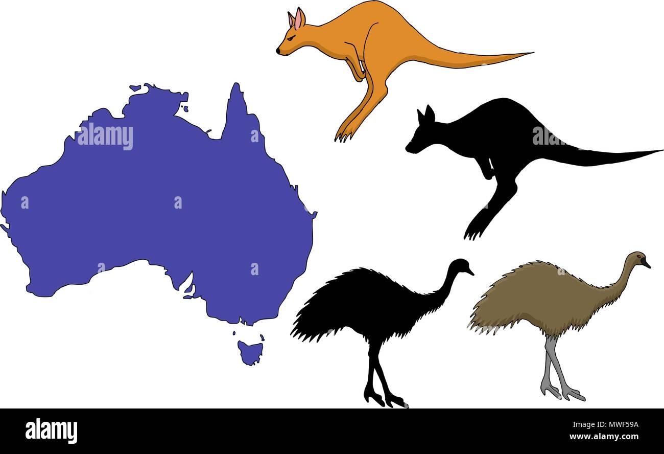 Australia Cartoon Travel Map Vector Illustration On White Background