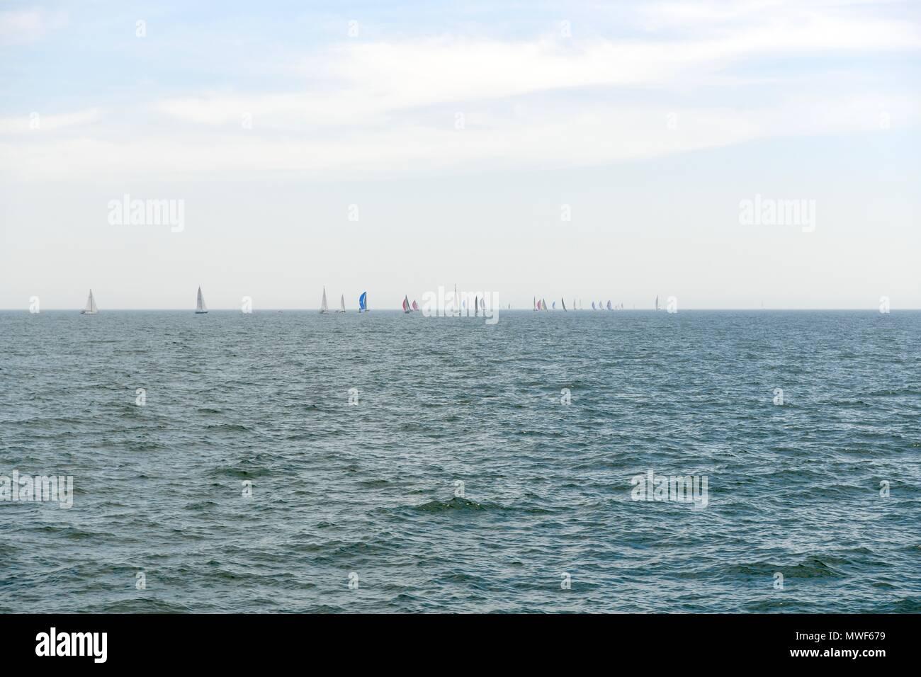 Sail boats in the Atlantic ocean off the coast of Martha's Vineyard, Massachusetts, USA - Stock Image