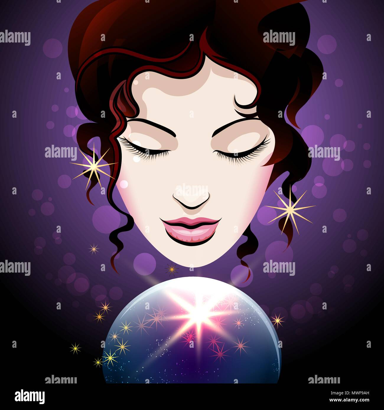 Pretty Girl looks into a crystal ball. Magic of Fortune telling concept. Vector illustration. - Stock Vector