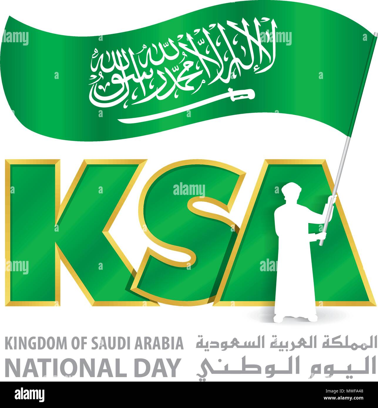 Ksa National Day Logo With Young Saudi Hold Flag An Inscription In English Arabic Kingdom Of Saudi Arabia National Day Vector Illustration