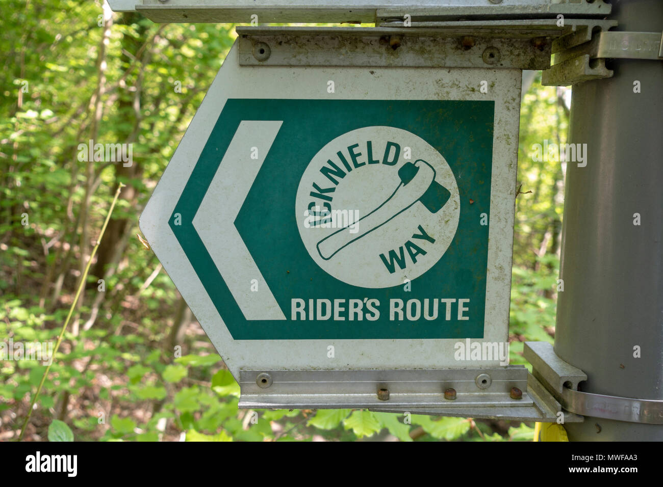 Icknield Way ricer's route sign on a post in the Chilterns area of natural beauty, UK - Stock Image
