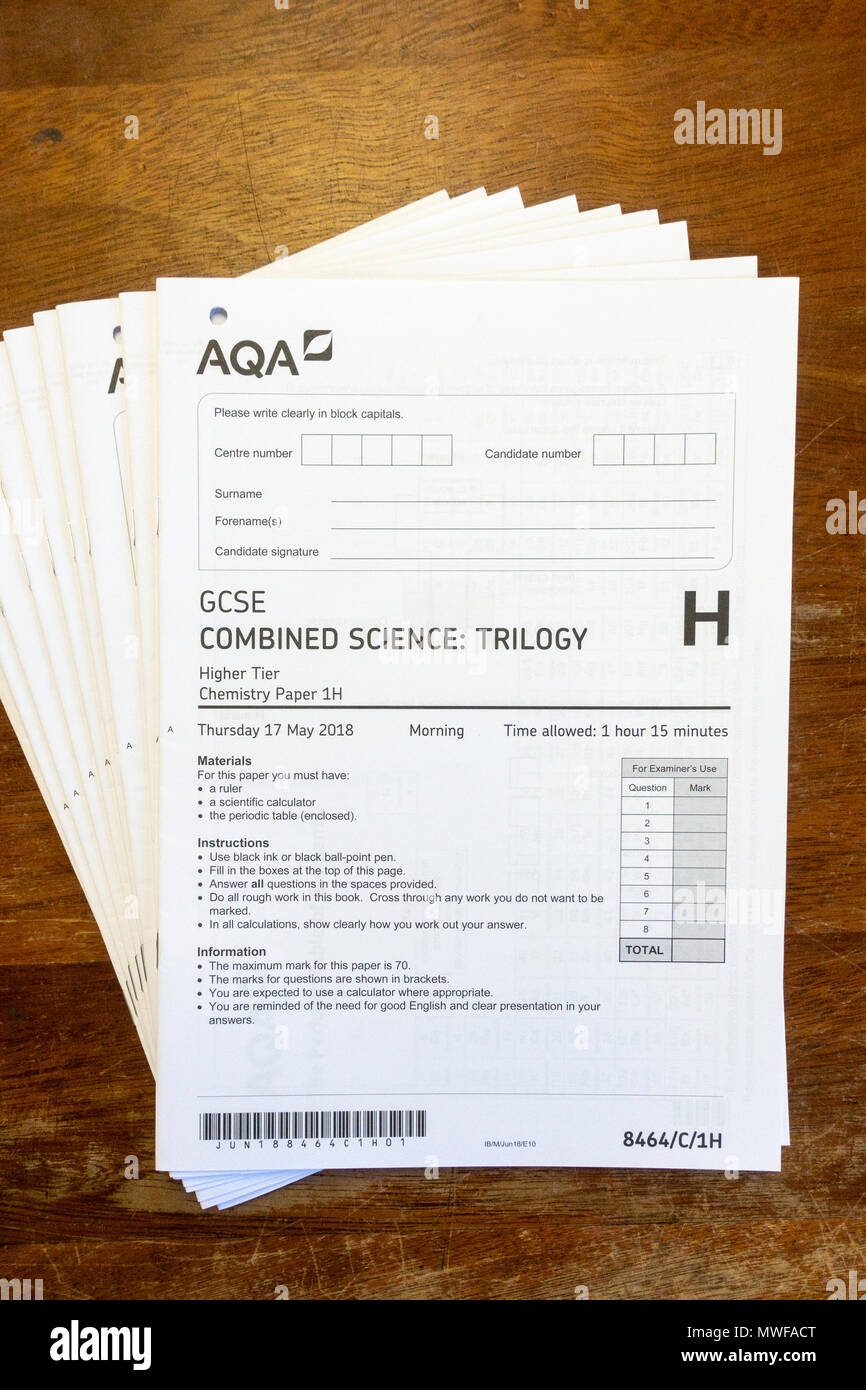 May 2018 AQA Science GCSE exam paper, London, UK. - Stock Image