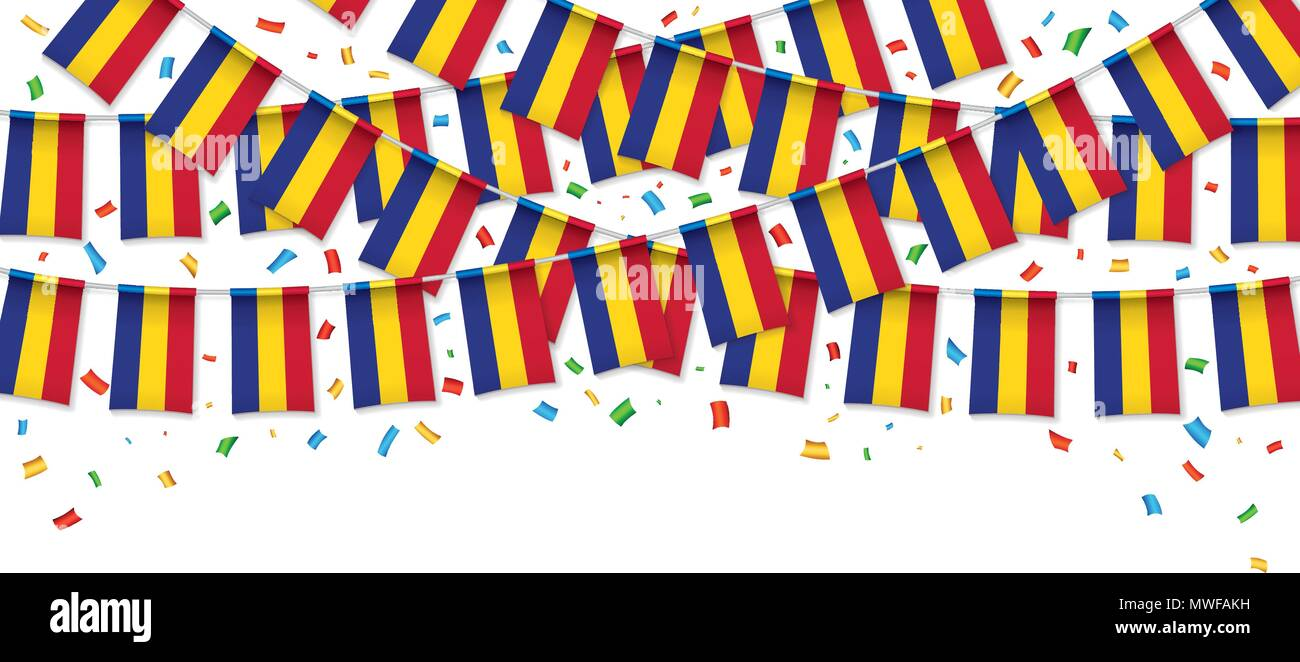Romania flags garland white background with confetti, hang bunting for Romanian National Day celebration template banner, Vector illustration - Stock Vector