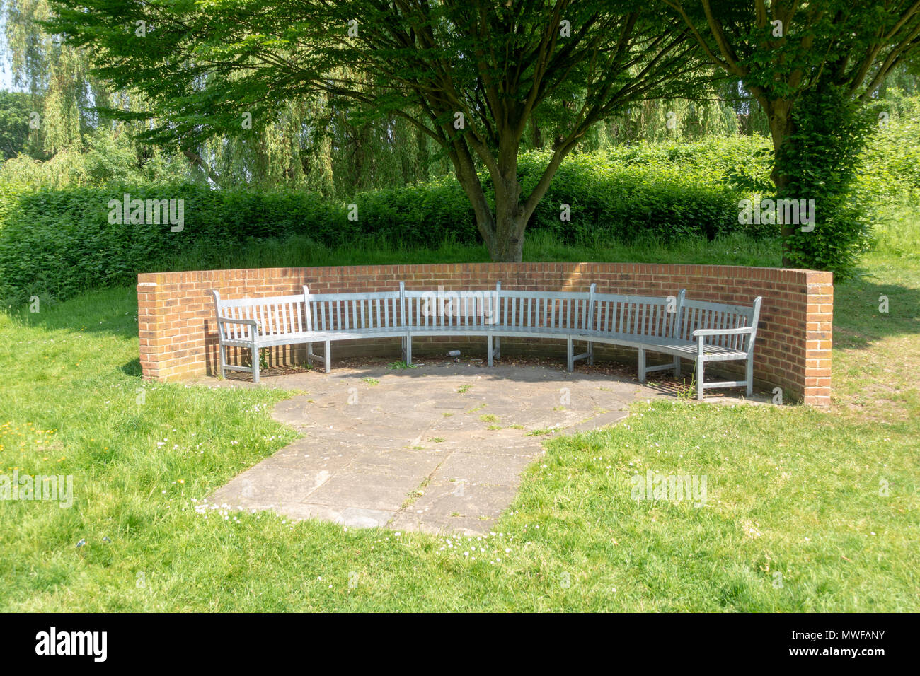 Memorial to the British European Airways air disaster in Waters Drive recreation ground, Staines Moor, UK. - Stock Image
