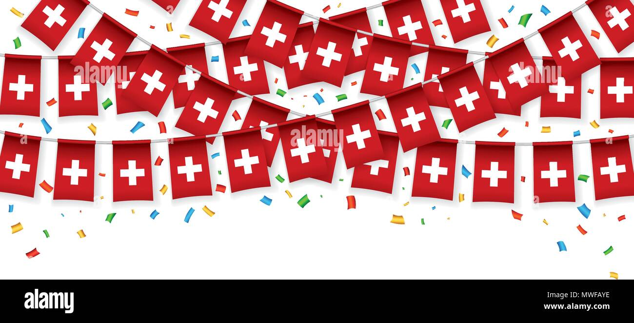 Switzerland flags garland white background with confetti, Hang bunting for independence Day celebration template banner, Vector illustration - Stock Vector