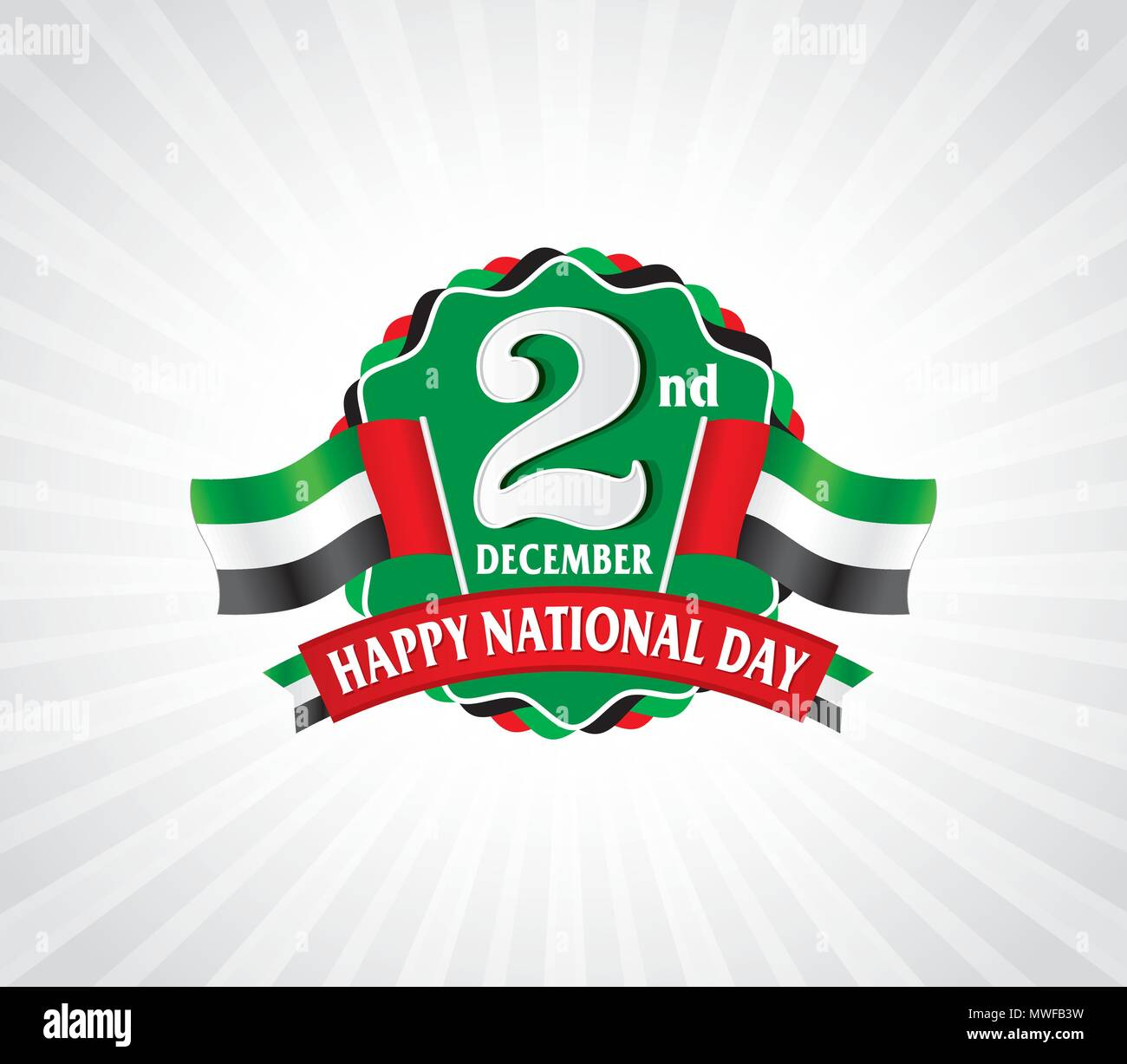 2nd December Logo with UAE Flag, Typographic emblems & badge with grey background, Vector illustration Stock Vector