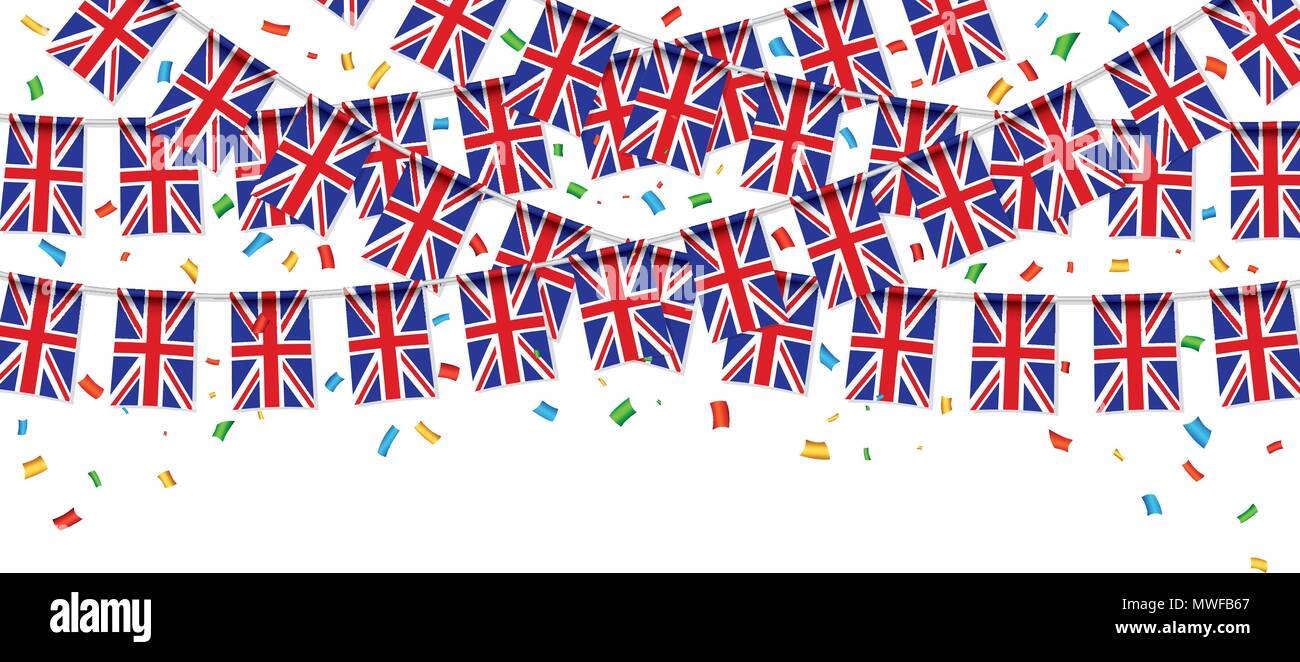 UK flags garland white background with confetti, Hang bunting for United Kingdom Day celebration template banner, Vector illustration - Stock Vector