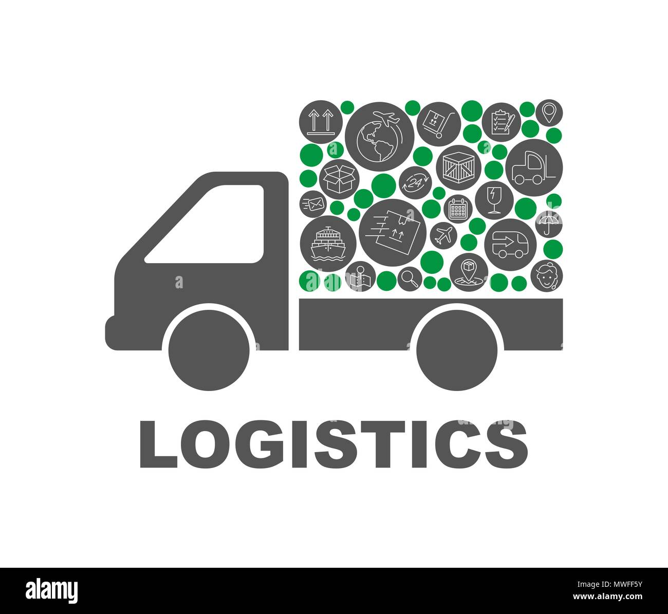 Color circles, flat icons in a truck shape distribution, delivery, service, shipping, logistic, transport, market concepts. Abstract background with connected objects Vector illustration - Stock Image
