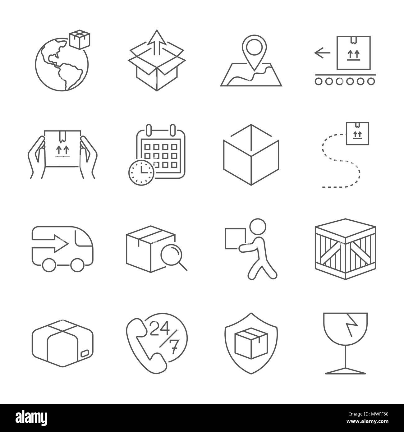 Delivery. Set of outline icons. Includes such as downloading, express delivery, search tracking number, courier and more. Editable stroke. - Stock Image