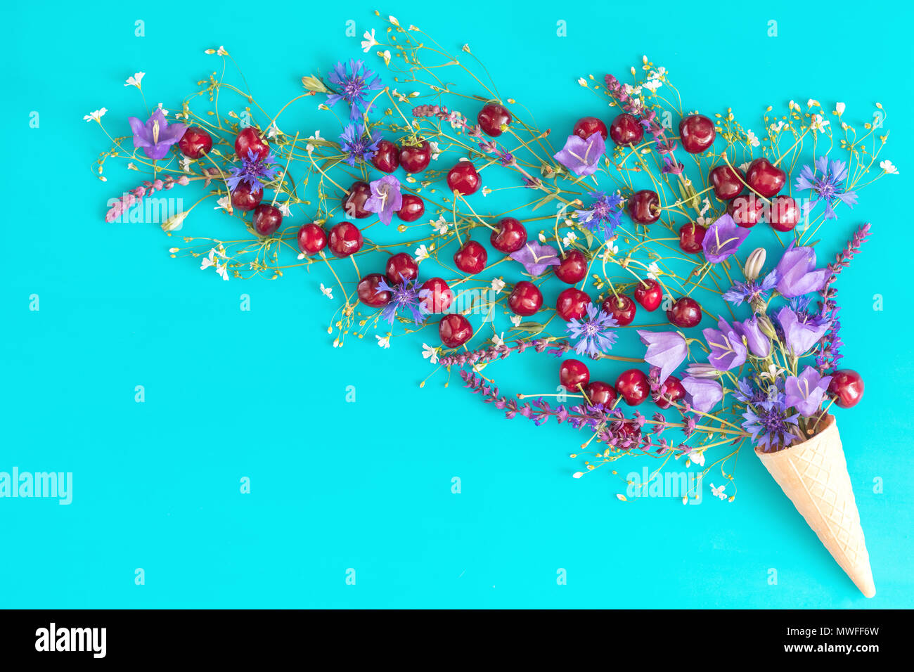 Waffle cone with red cherries, cornflower, blue bells and white flowers blossom bouquets on blue surface. Flat lay, top view sweet food floral backgro - Stock Image