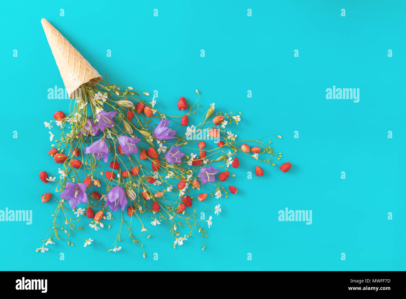 Waffle cone with wild strawberry and blue bells and white flowers blossom bouquets on blue surface. Flat lay, top view sweet food floral background. - Stock Image