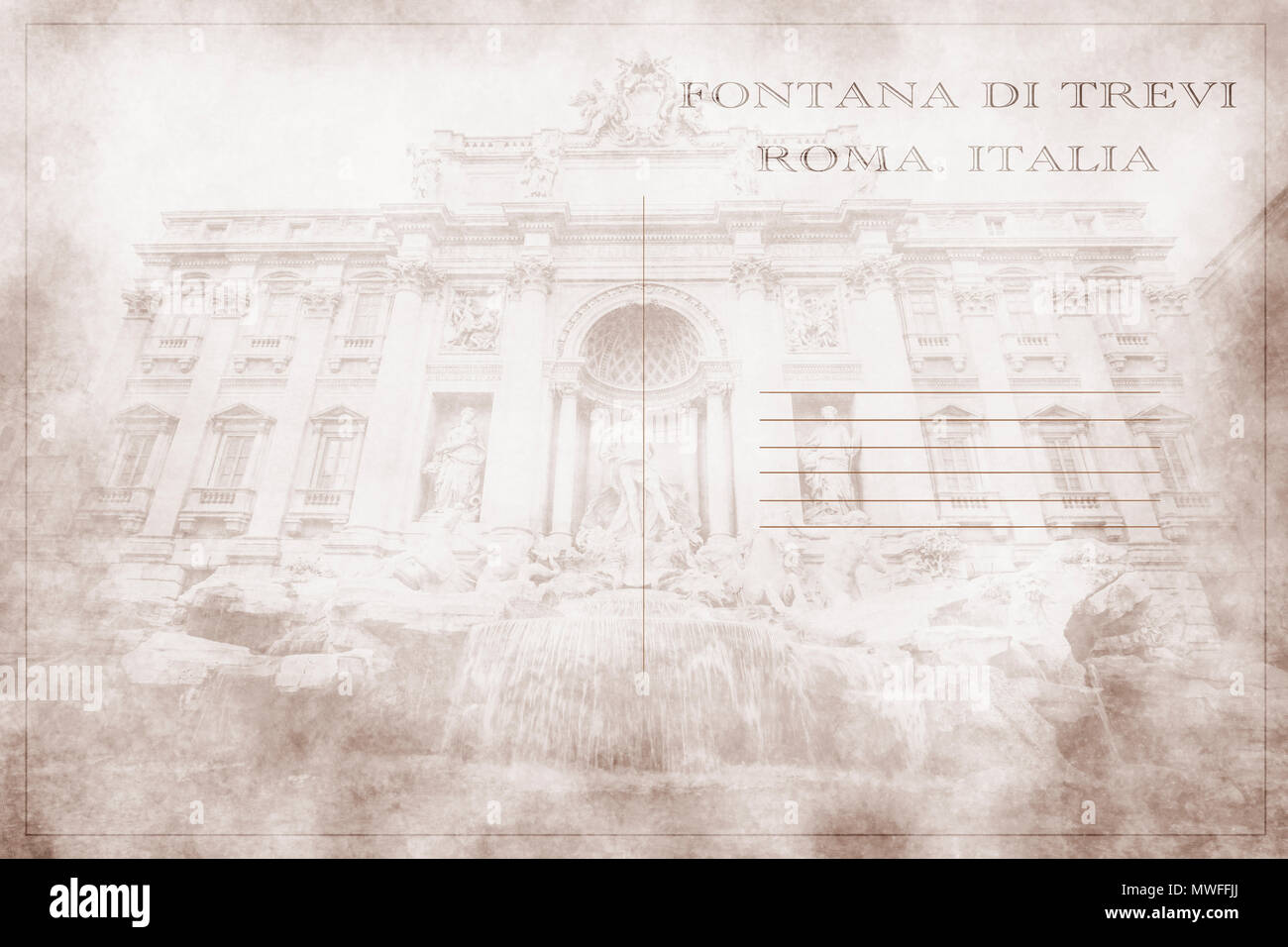 Postcard with a photograph of the Fontana di Trevi of Rome. Stock Photo