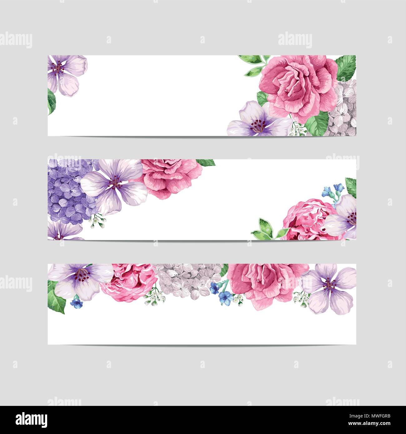floral banner template flowers in watercolor style isolated on