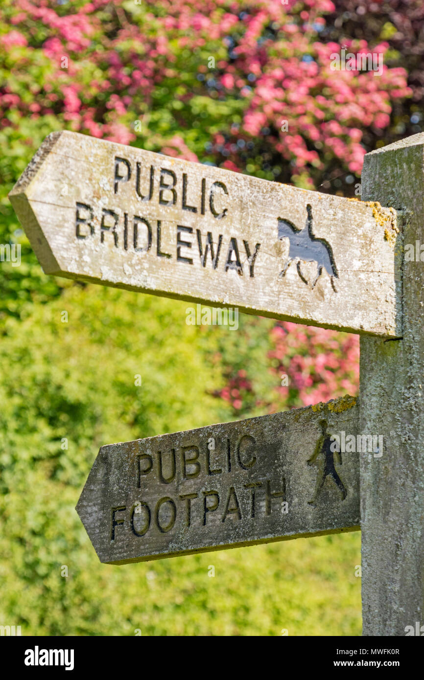 A public footpath and bridleway right of way sign, England, UK - Stock Image