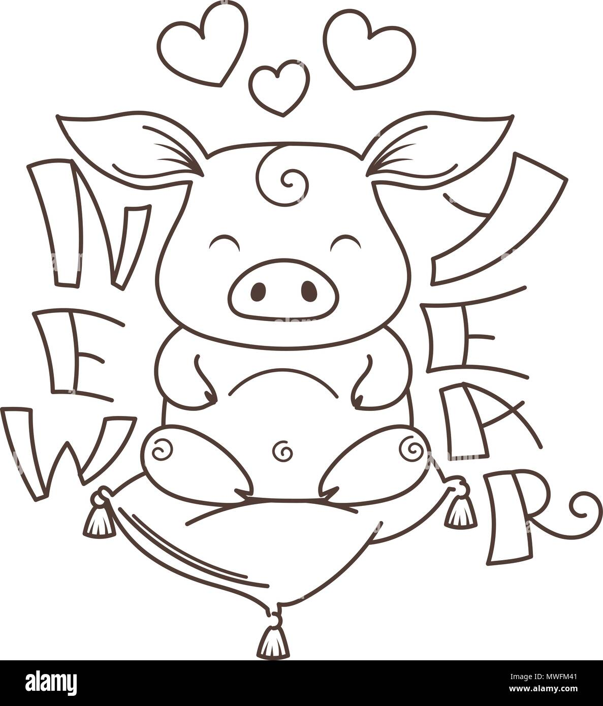 Cute Cartoon Pig In Love Symbol Of New 2019 Year Chinese