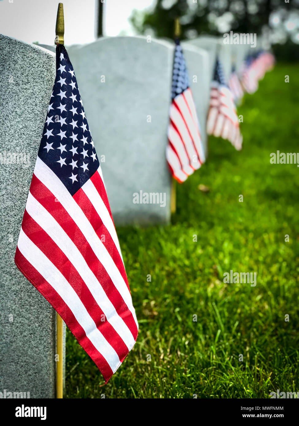 Decorated graves of US military service members at a Virginia cemetery. Stock Photo