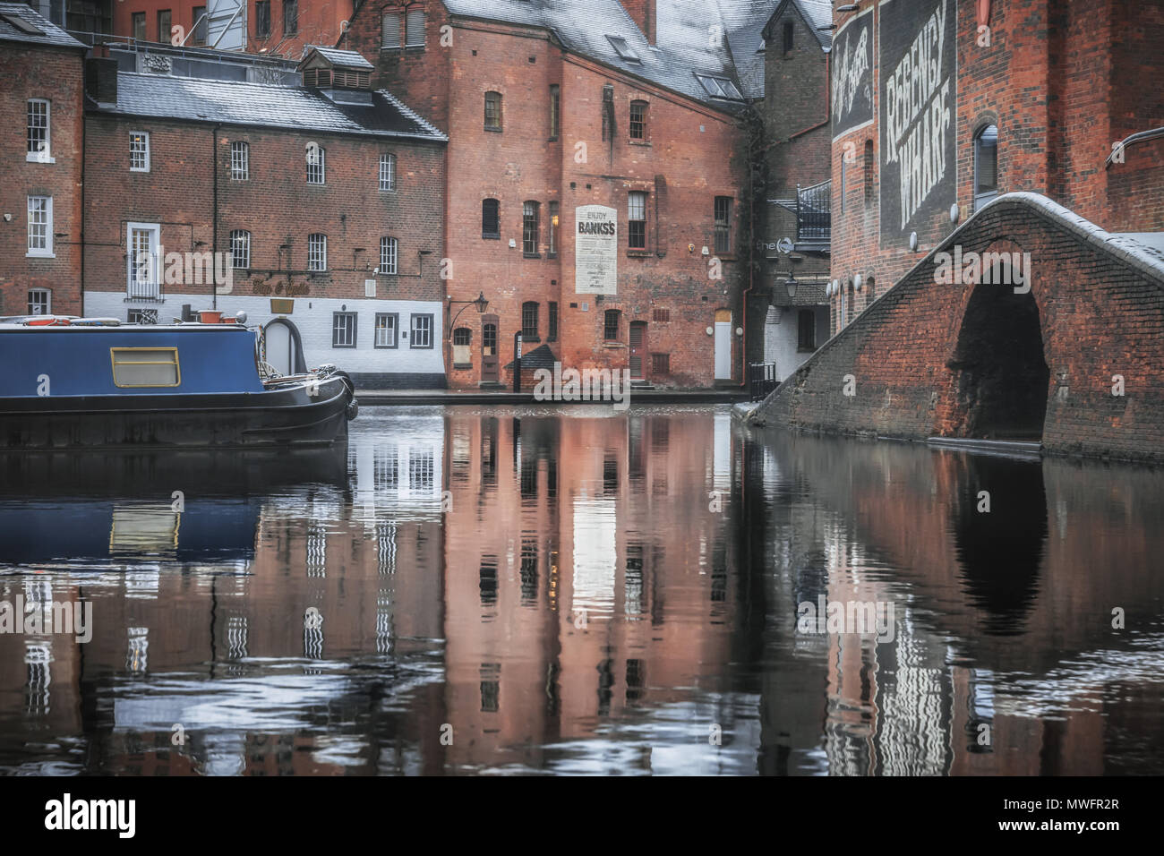 Winter Reflections at Gas Street Basin - Stock Image