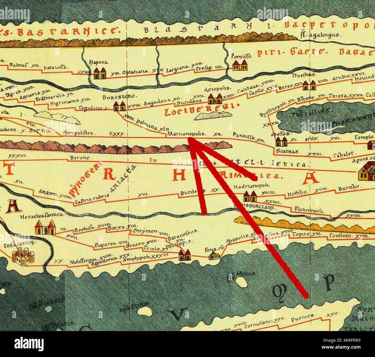 Bulgarien Karte Deutsch.English Cutout From Tabula Peutingeriana 1 4th Century Ce