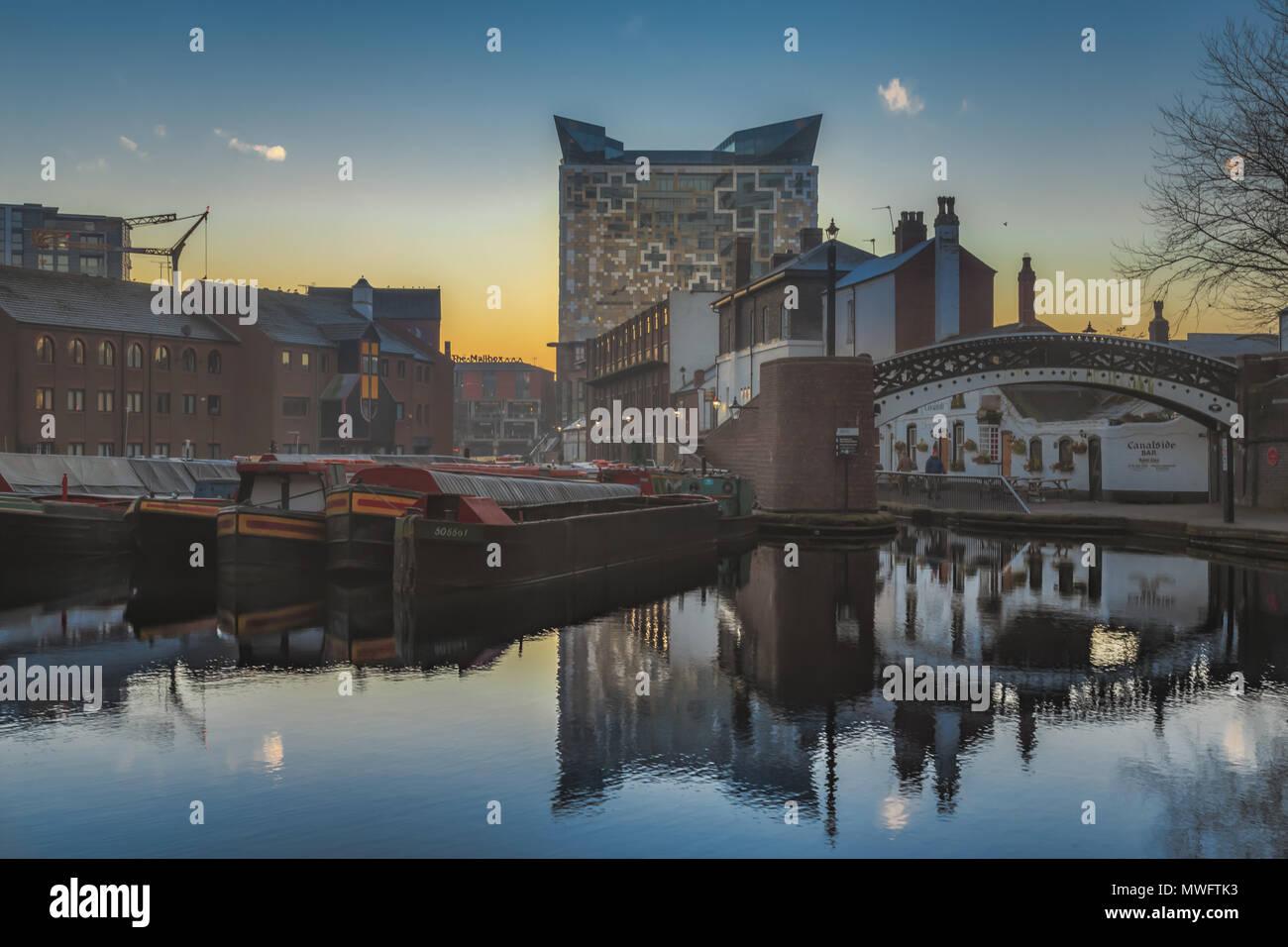Sunrise on Gas Street Basin in Birmingham, UK - Stock Image