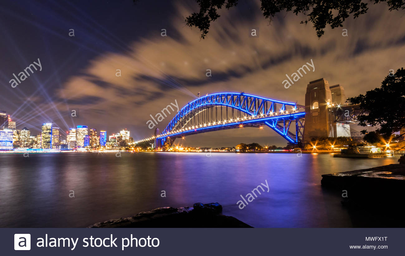 Sydney Harbour Bridge and Skyline. Illuminated by the Vivid Festival lights. 2018. Stock Photo